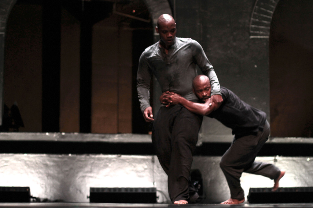 Dance Umbrella 2016 Prog 8 СHeroТ choreographed by PJ Sabbagha and Ivan Estegneev. Performed by Fana Tshabalala and Thulani Chauke from The Forgotten Angle Theatre Collaborative (SA) with Dialogue Dance (Russia). The John Kani Theatre at The Market, Johannesburg. 05 March 2016. Photograph: John Hogg